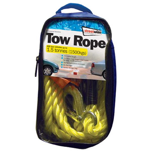 1.5 Tonne Yellow Braided Tow Rope with 2 Metal S Hooks