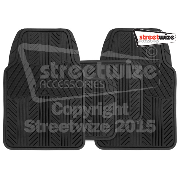 4 piece Rubber Mat Set  Valor  Black
